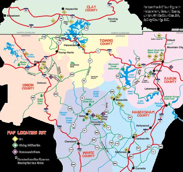2018 Northeast Georgia Arts Tour Map