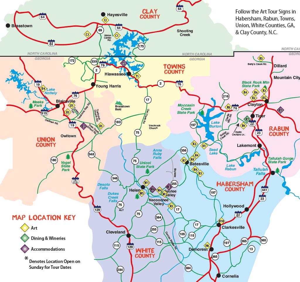 Northeast Georgia Arts Tour 2018 Map
